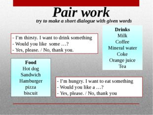 Pair work try to make a short dialogue with given words - I'm thirsty. I want