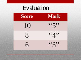 "Evaluation Score Mark 10 ""5"" 8 ""4"" 6 ""3"""