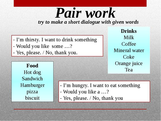 Pair work try to make a short dialogue with given words - I'm thirsty. I want...