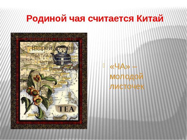Родиной чая считается Китай «ЧА» – молодой листочек