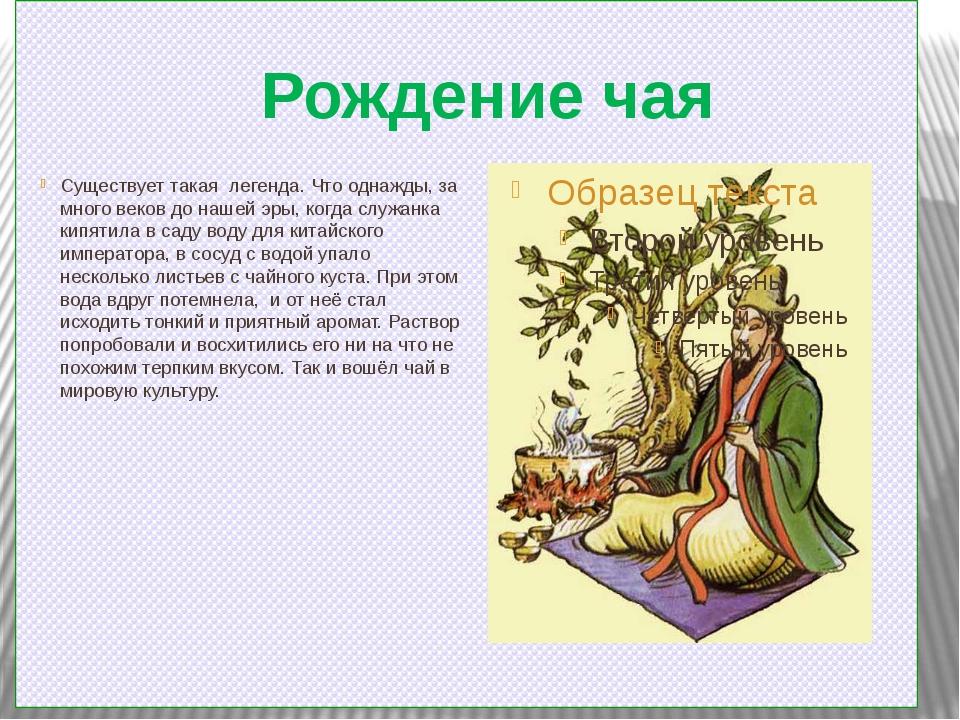 Рождение чая Существует такая легенда. Что однажды, за много веков до нашей э...