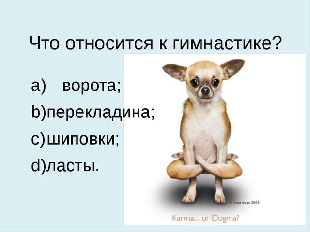 Что относится к гимнастике? a) ворота; b)перекладина; c)шиповки; d)ласты.