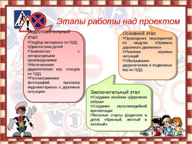 Этапы работы над проектом Подготовительный этап Подбор материала по ПДД Диаг...