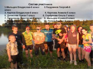 Состав участников 1.Мальцев Владислав-6 класс 2.Паздников Георгий-6 класс 3.