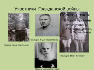 Участники Гражданской войны Мальцев Иван Егорович Ганицев Семен Никитьевич Ва