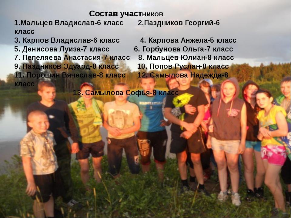 Состав участников 1.Мальцев Владислав-6 класс 2.Паздников Георгий-6 класс 3....