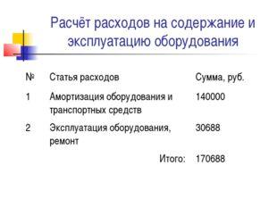 Расчёт расходов на содержание и эксплуатацию оборудования