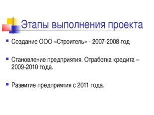 Этапы выполнения проекта Создание ООО «Строитель» - 2007-2008 год Становление