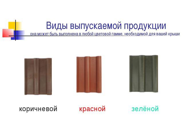 Виды выпускаемой продукции она может быть выполнена в любой цветовой гамме,...