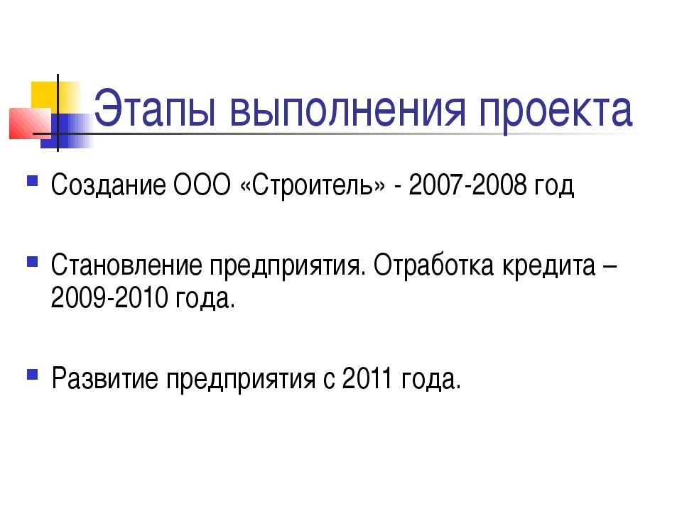 Этапы выполнения проекта Создание ООО «Строитель» - 2007-2008 год Становление...