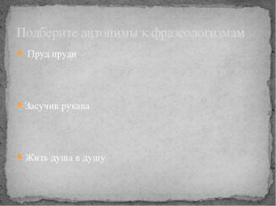 Пруд пруди Засучив рукава Жить душа в душу Подберите антонимы к фразеологизмам