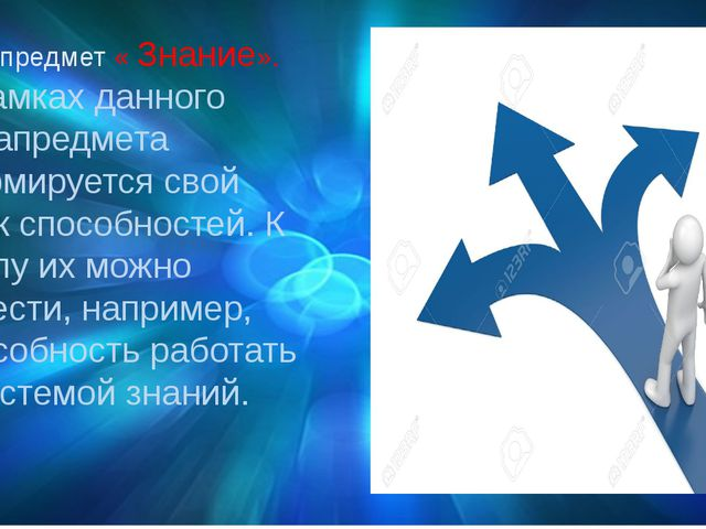 Метапредмет « Знание». В рамках данного метапредмета формируется свой блок сп...