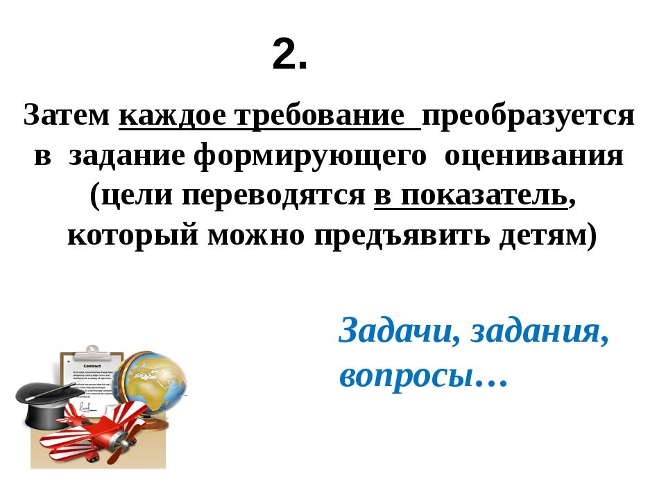 Затем каждое требование преобразуется в задание формирующего оценивания (цели...