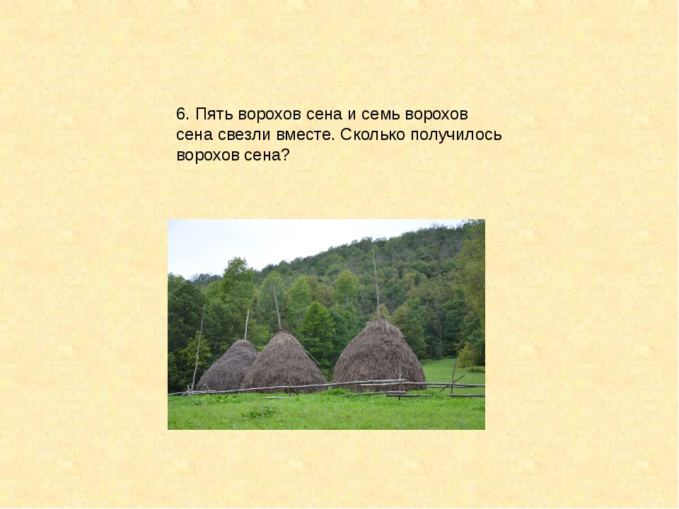 6. Пять ворохов сена и семь ворохов сена свезли вместе. Сколько получилось во...