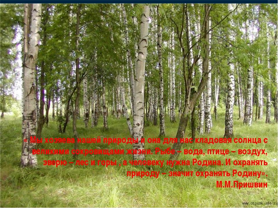 « Мы хозяева нашей природы и она для нас кладовая солнца с великими сокровища...