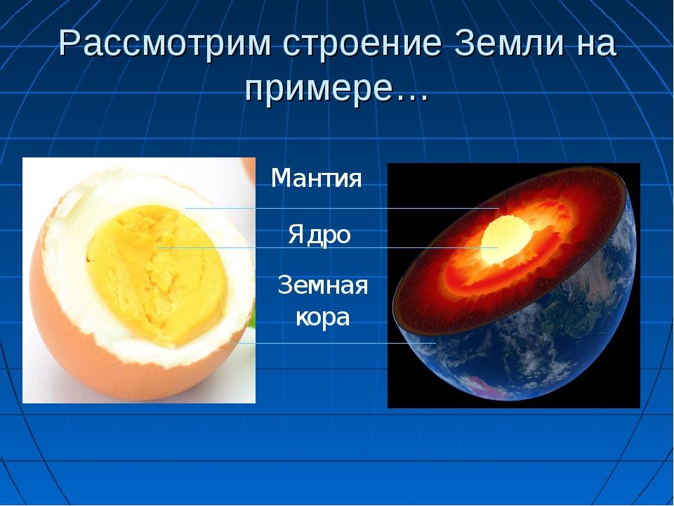 Рассмотрим строение Земли на примере… Мантия Ядро Земная кора