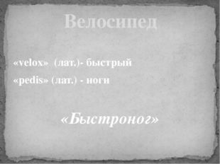«velox» (лат.)- быстрый «pedis» (лат.) - ноги «Быстроног» Велосипед