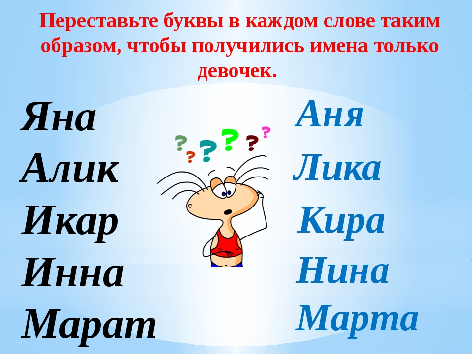 Яна Алик Икар Инна Марат Переставьте буквы в каждом слове таким образом, чтоб...