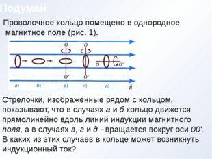 Подумай Рис. 1 Проволочное кольцо помещено в однородное магнитное поле (рис.