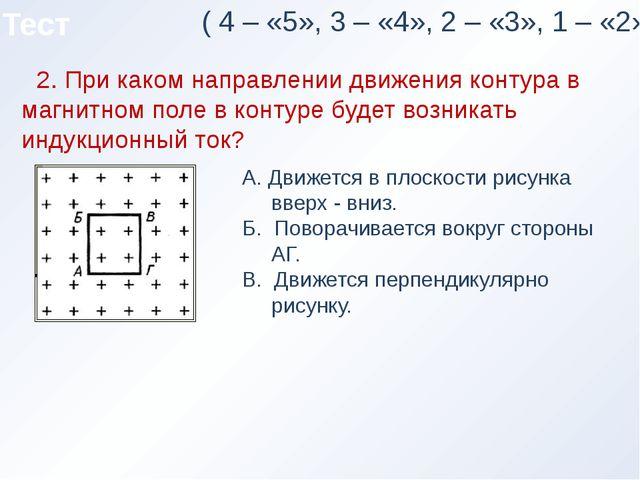 Тест ( 4 – «5», 3 – «4», 2 – «3», 1 – «2») 2. При каком направлении движения...