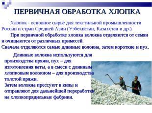 Хлопок - основное сырье для текстильной промышленности России и стран Средне