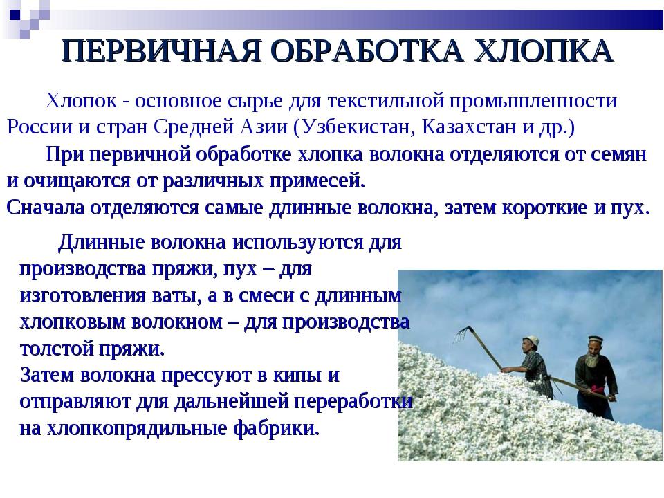 Хлопок - основное сырье для текстильной промышленности России и стран Средне...