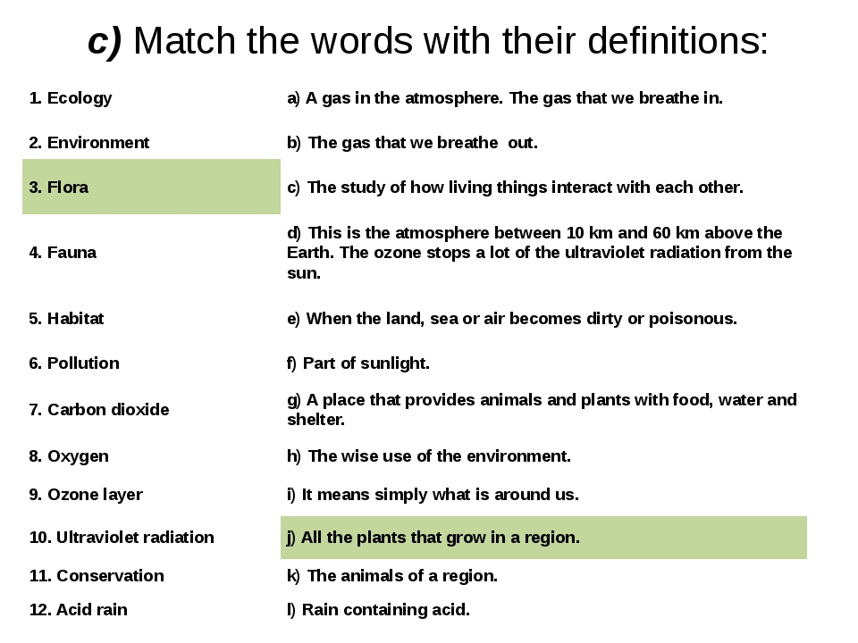 с) Match the words with their definitions: 1. Ecology a) A gas in the atmosph...