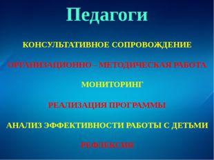 Педагоги РЕАЛИЗАЦИЯ ПРОГРАММЫ ОРГАНИЗАЦИОННО – МЕТОДИЧЕСКАЯ РАБОТА КОНСУЛЬТАТ