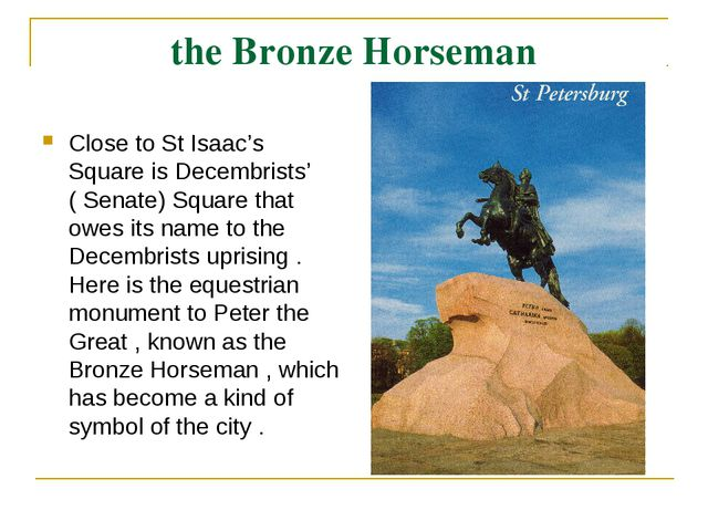 the Bronze Horseman Close to St Isaac's Square is Decembrists' ( Senate) Squa...