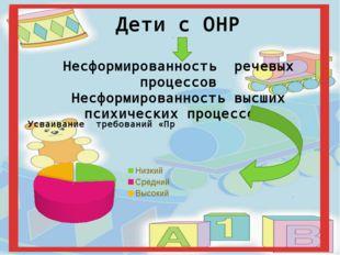 Дети с ОНР Несформированность речевых процессов Несформированность высших пси