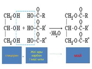 Қатты май= жоғар қаныққан карбон қышқылдары + глицерин /май қышқылы, пальмити