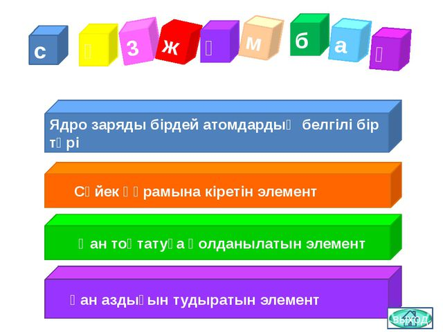 с ө 3 ж ұ м б а қ Ядро заряды бірдей атомдардың белгілі бір түрі Сүйек құрамы...