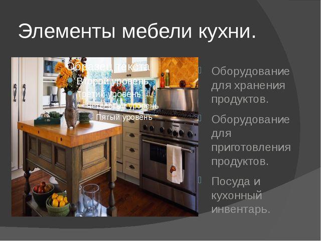 Элементы мебели кухни. Оборудование для хранения продуктов. Оборудование для...