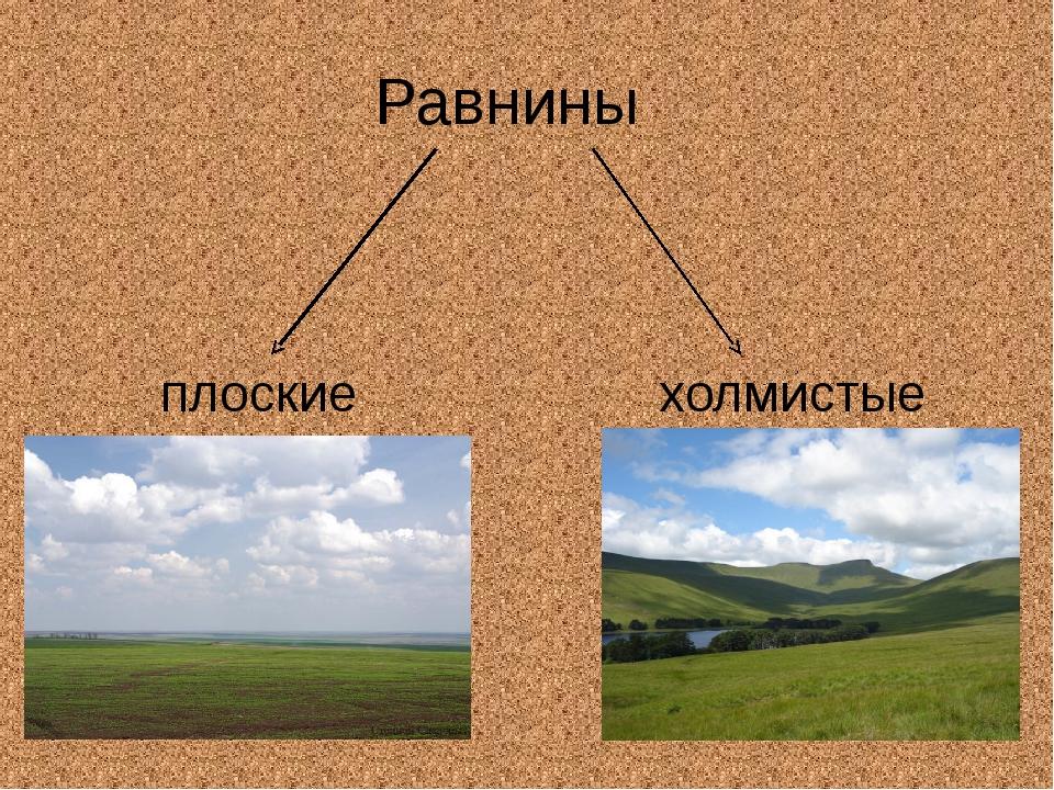 Равнины плоские холмистые