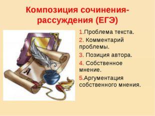 Композиция сочинения-рассуждения (ЕГЭ) 1.Проблема текста. 2. Комментарий проб