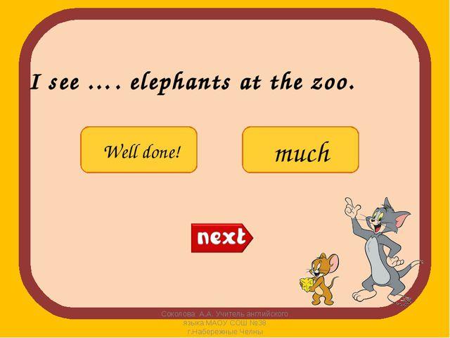 I see …. elephants at the zoo. Соколова А.А. Учитель английского языка МАОУ С...