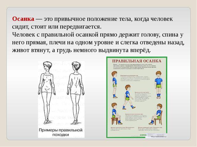 Осанка — это привычное положение тела, когда человек сидит, стоит или передви...