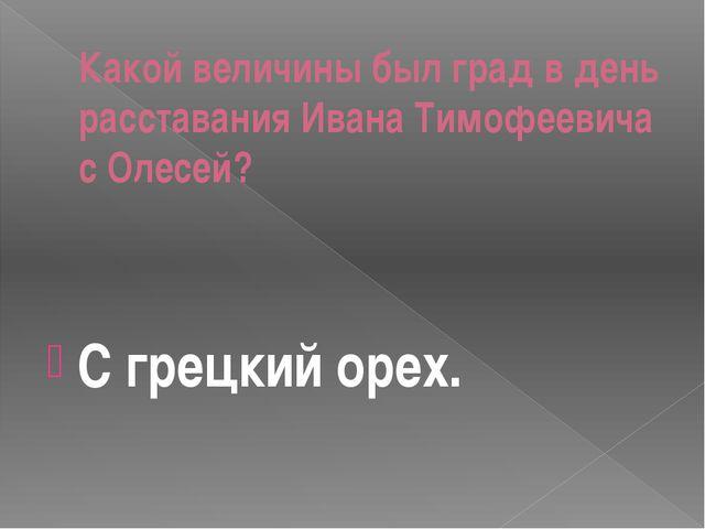 Какой величины был град в день расставания Ивана Тимофеевича с Олесей? С грец...