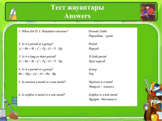 1. What did D. I. Mendeleev discover?	Periodic Table Периодтық кесте 2. Is it...
