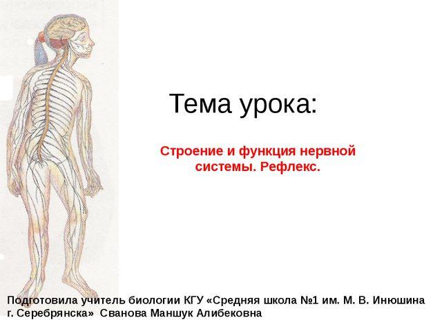 Тема урока: Строение и функция нервной системы. Рефлекс. Подготовила учитель...
