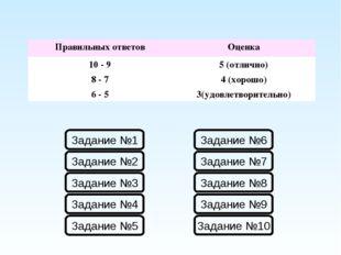 Правильных ответовОценка 10 - 95 (отлично) 8 - 74 (хорошо) 6 - 53(удовлет