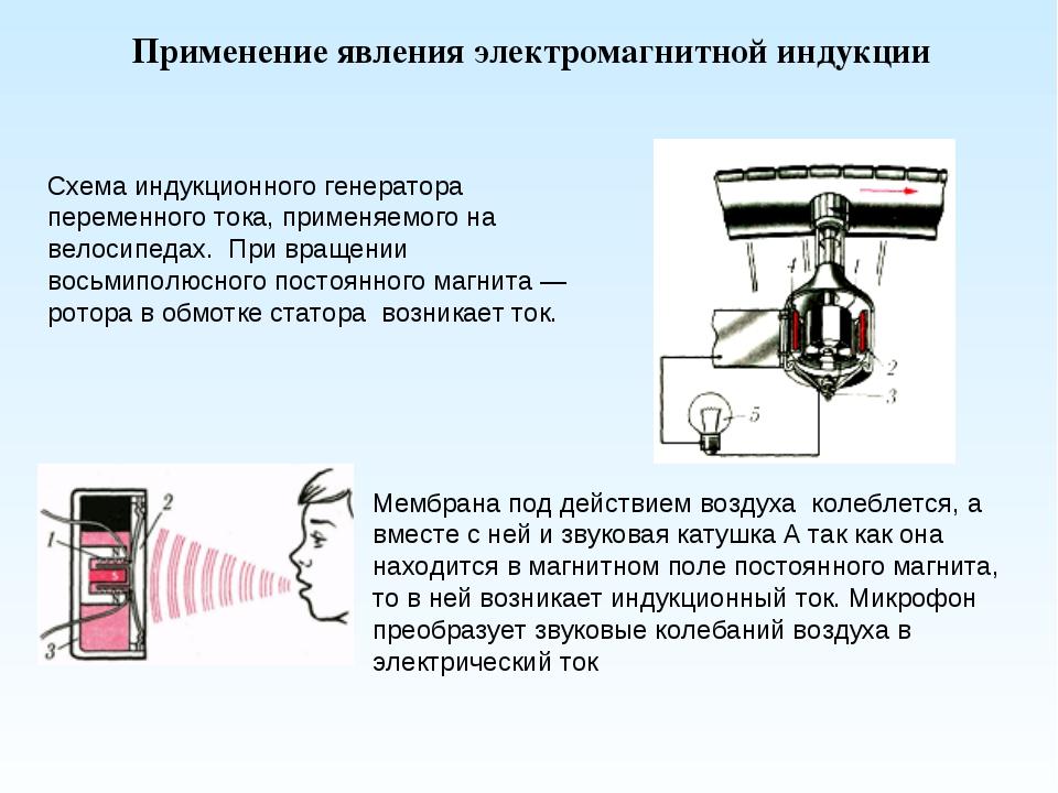 Схема индукционного генератора переменного тока, применяемого на велосипедах....