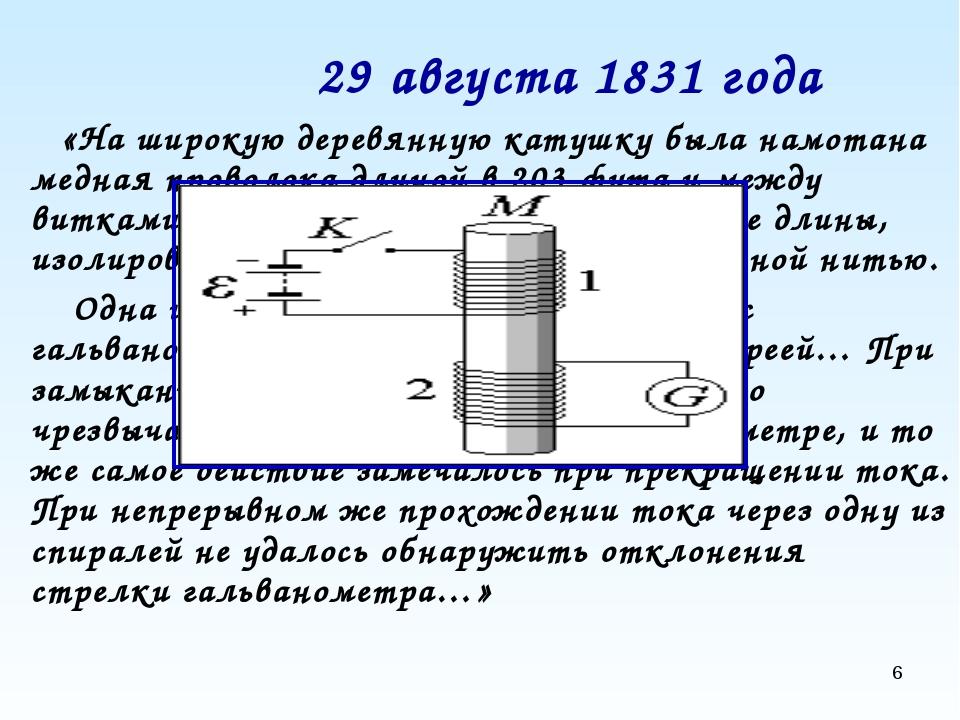 * 29 августа 1831 года «На широкую деревянную катушку была намотана медная пр...
