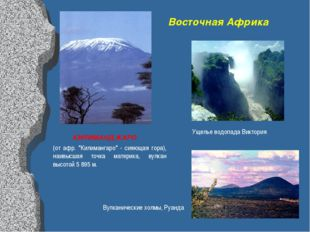 "Восточная Африка КИЛИМАНДЖАРО (от афр. ""Килимангаро"" - сияющая гора), наивысш"