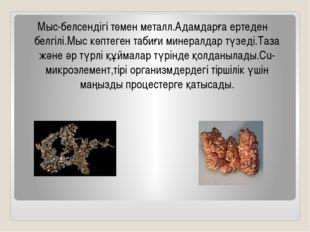Мыс-белсендігі төмен металл.Адамдарға ертеден белгілі.Мыс көптеген табиғи мин