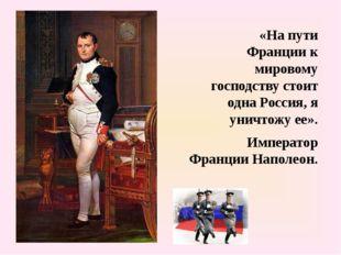 «На пути Франции к мировому господству стоит одна Россия, я уничтожу ее». Им