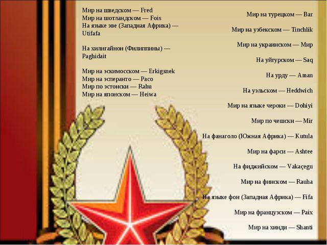 Мир на турецком — Bar Мир на узбекском — Tinchlik Мир на украинском — Мир На...