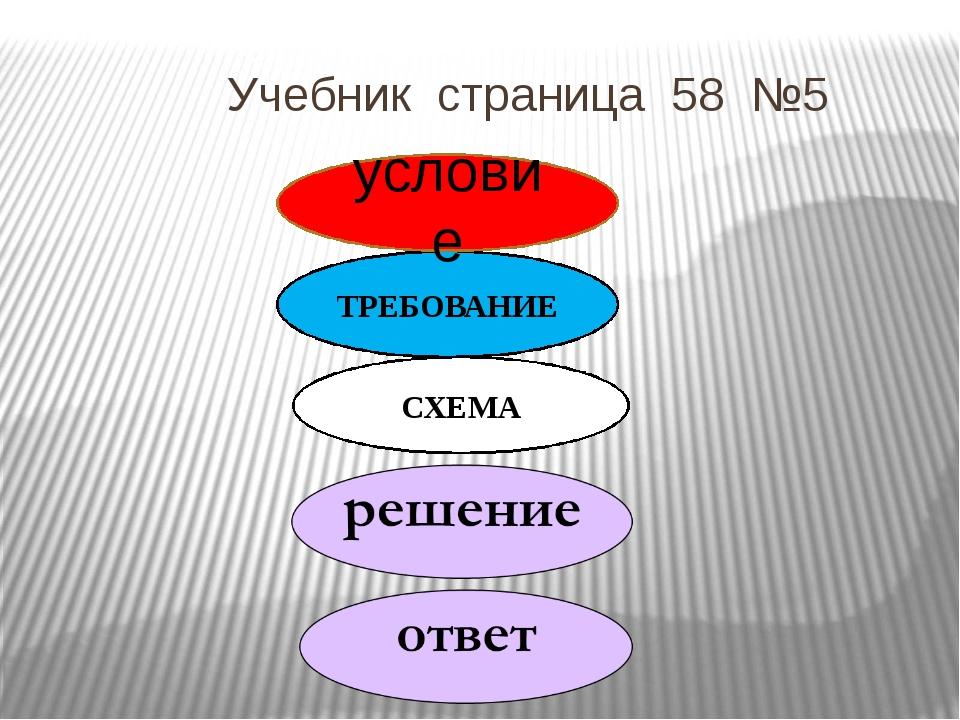 Учебник страница 58 №5 ТРЕБОВАНИЕ СХЕМА условие