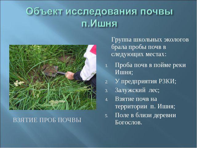 ВЗЯТИЕ ПРОБ ПОЧВЫ Группа школьных экологов брала пробы почв в следующих места...