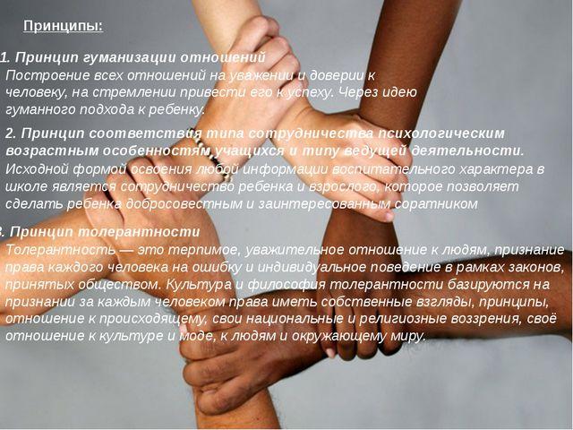 Принципы: 1. Принцип гуманизации отношений Построение всех отношений на уваже...